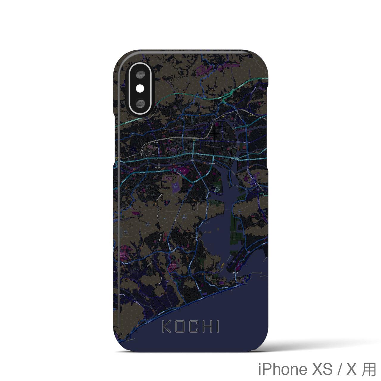 【高知】地図柄iPhoneケース(バックカバータイプ・ブラック)