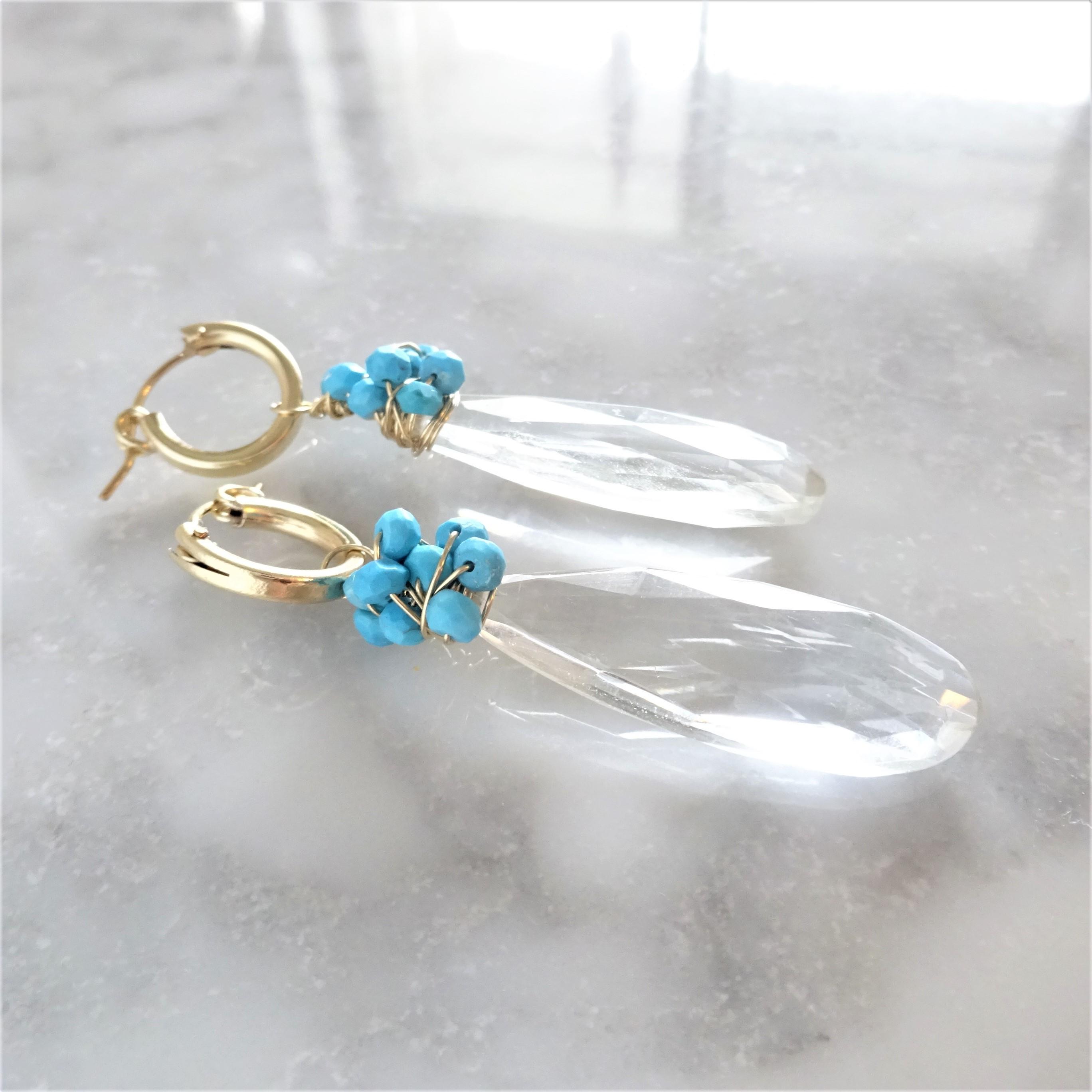 送料無料14kgf*Turquoise x Crystal Quartz pierced earring/earring