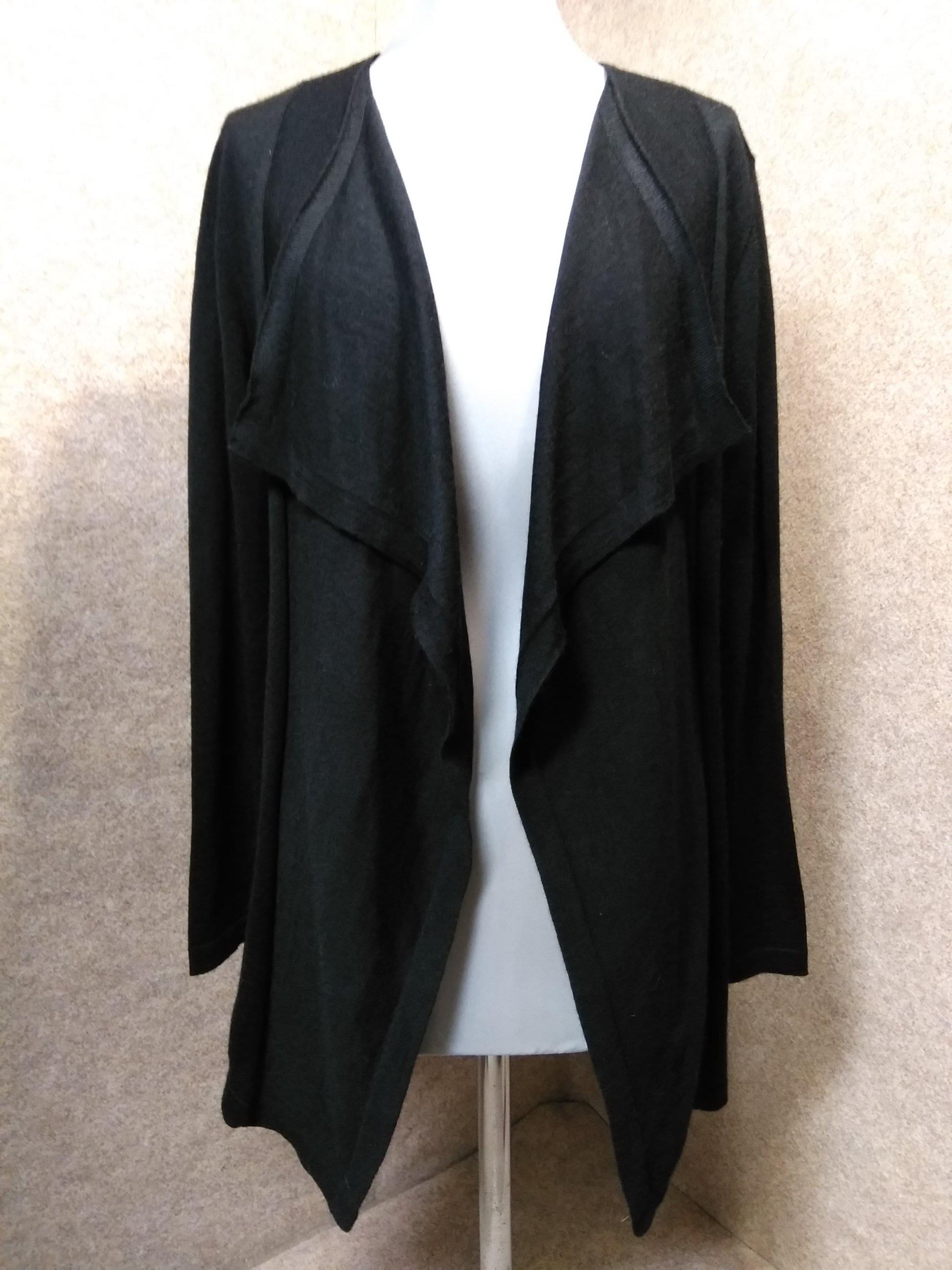 トランスワーク 羽織り カーディガン 38 黒 ウール混 mu200s