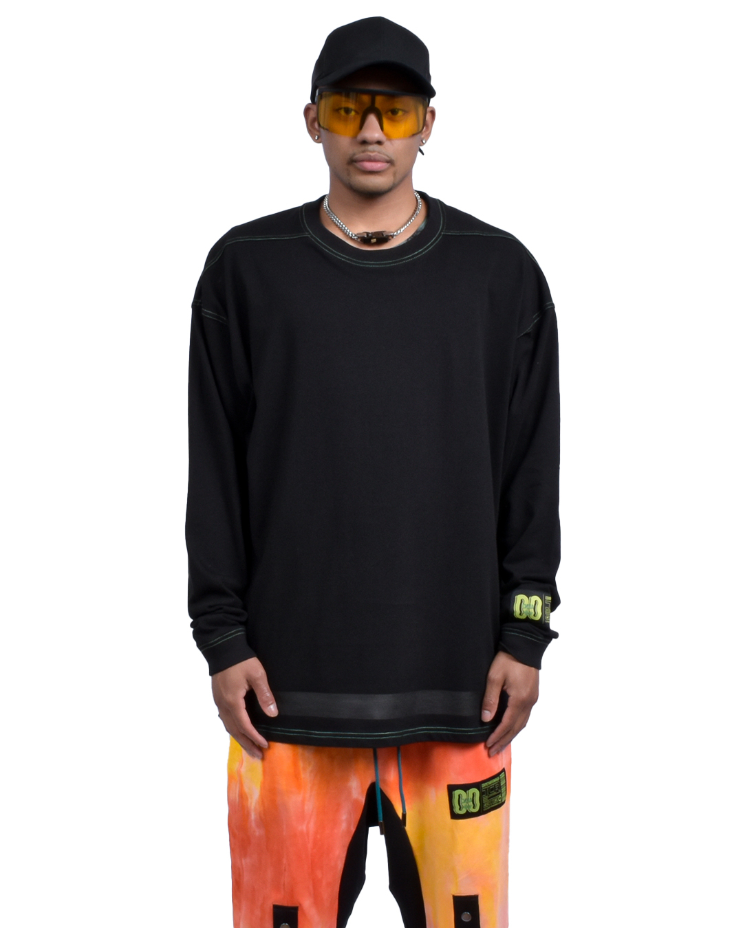 OVERSIZED TCR BASICALLY L/S TEE - BLACK/GREEN