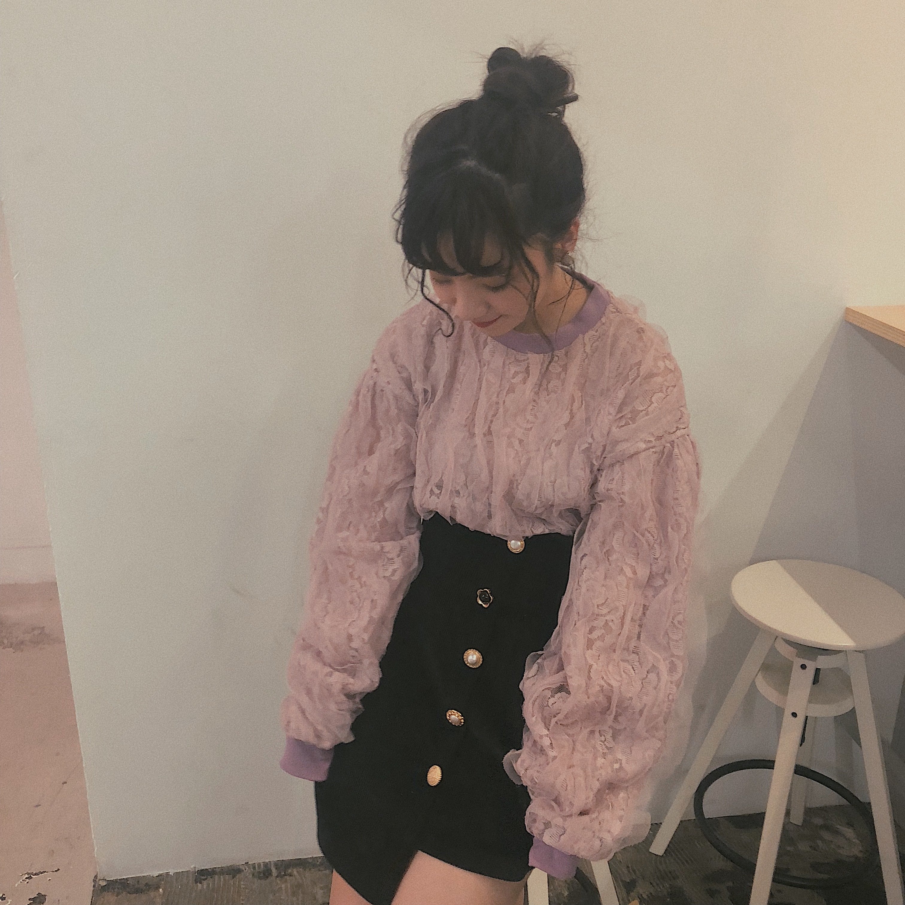 lace frill sweatshirt