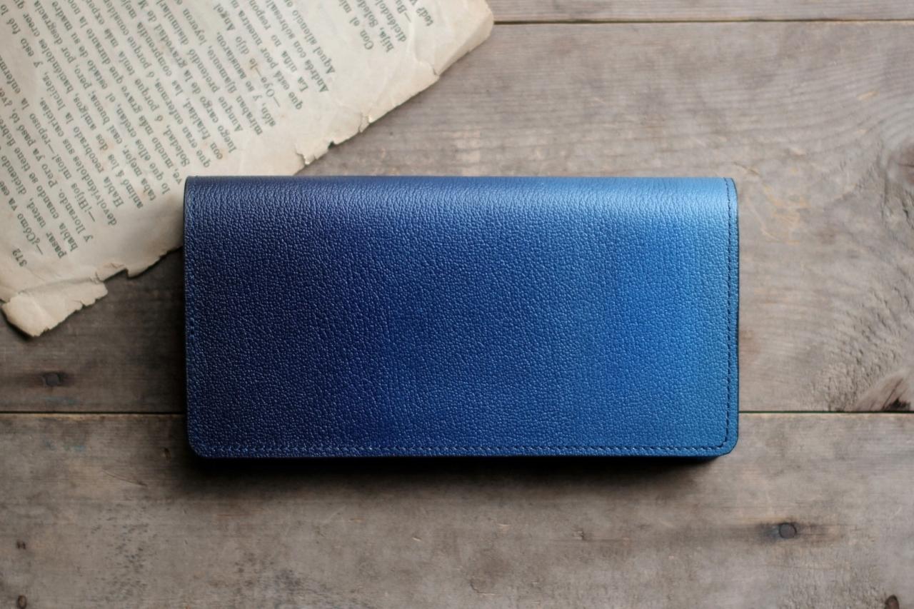 藍染革[shiboai] 長財布 【天藍】