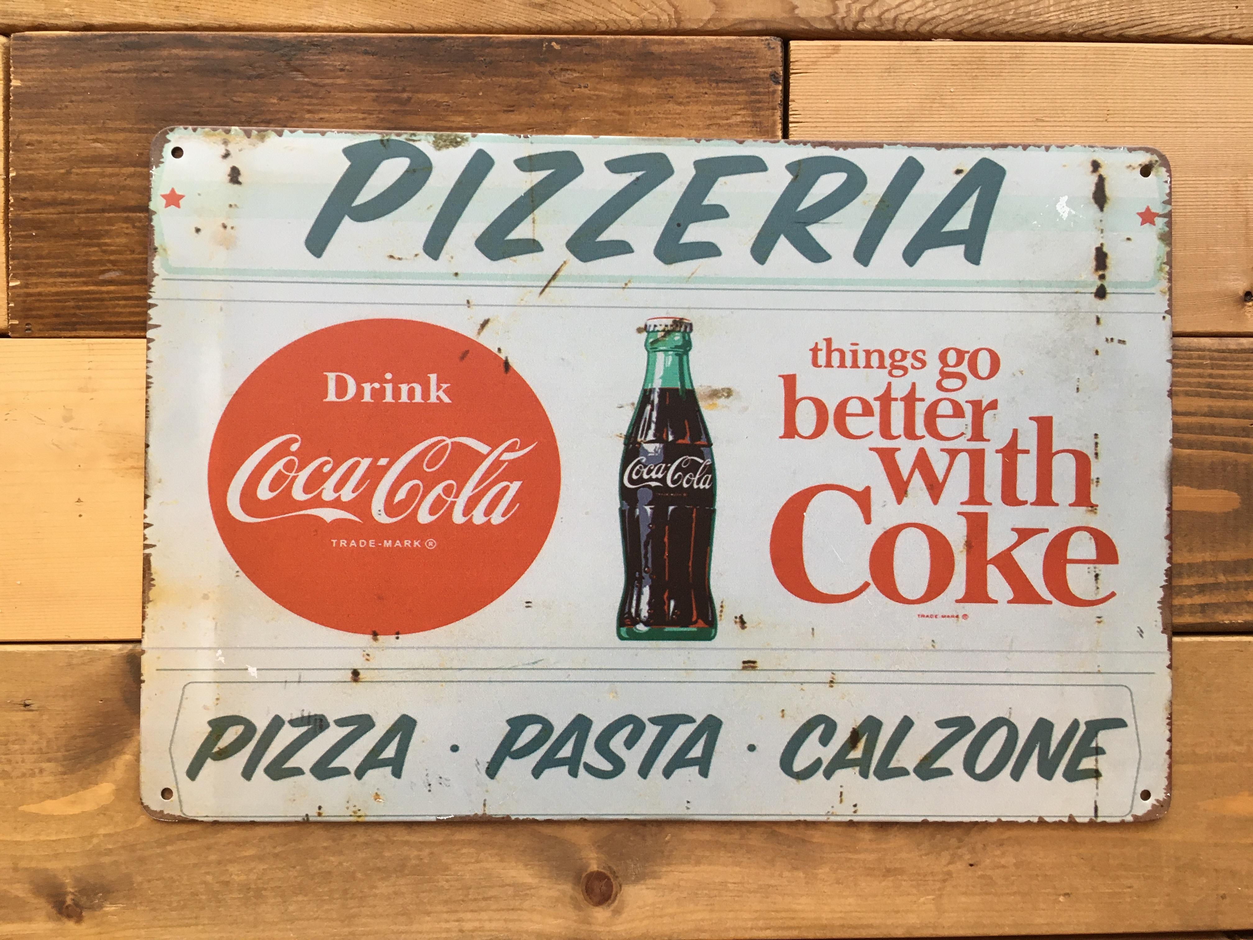 アメリカンサインボード◆コカコーラ◆横型/アメリカンダイナー/pizza/ピザ