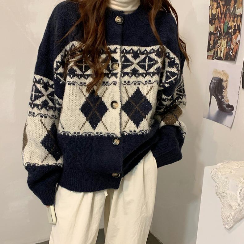 ヴィンテージアーガイルカーディガン【vintage argyle cardigan】