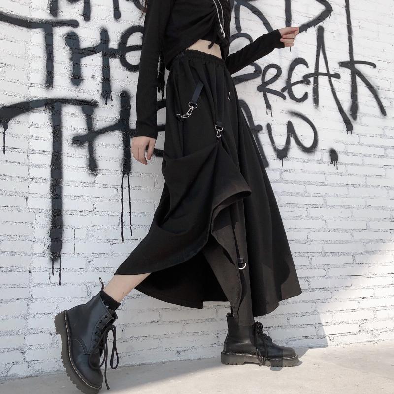 【bottoms】 ストリート系ハイウエスト切り替えスカート27010903