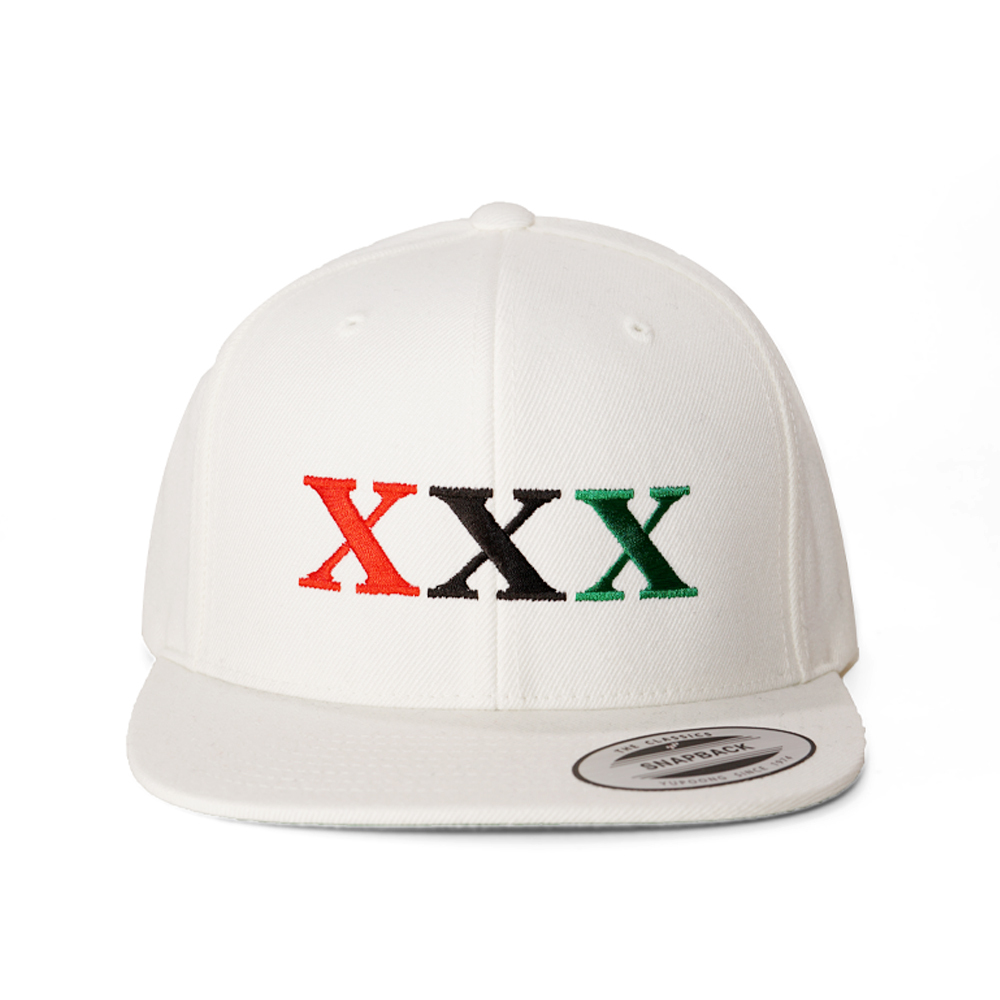 Stay Black Salute XXX 6PANEL SNAPBACK CAP (WHITE)
