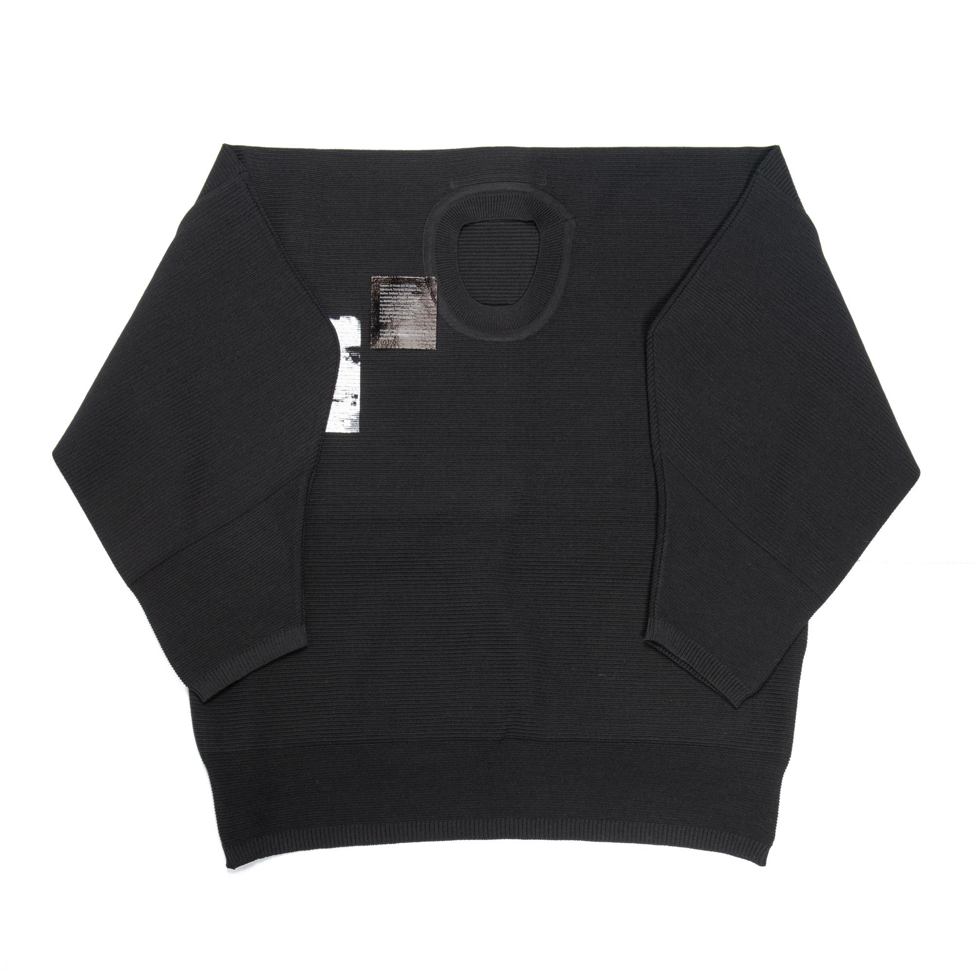 657KNM1-P-BLACK / プリントMIXニッティングシャツ