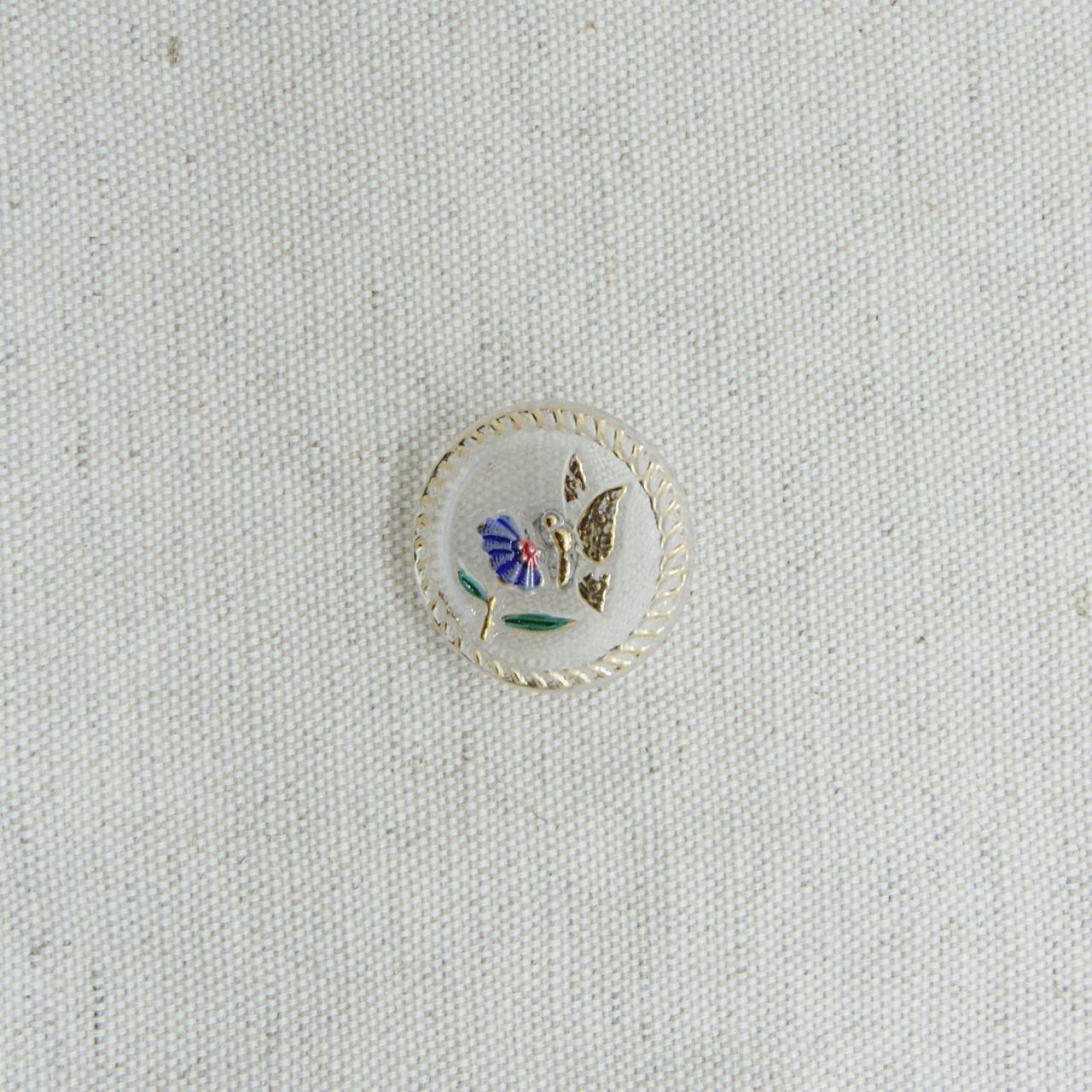 【チェコガラスボタン】花と蝶・青 ::: 中2.3cm
