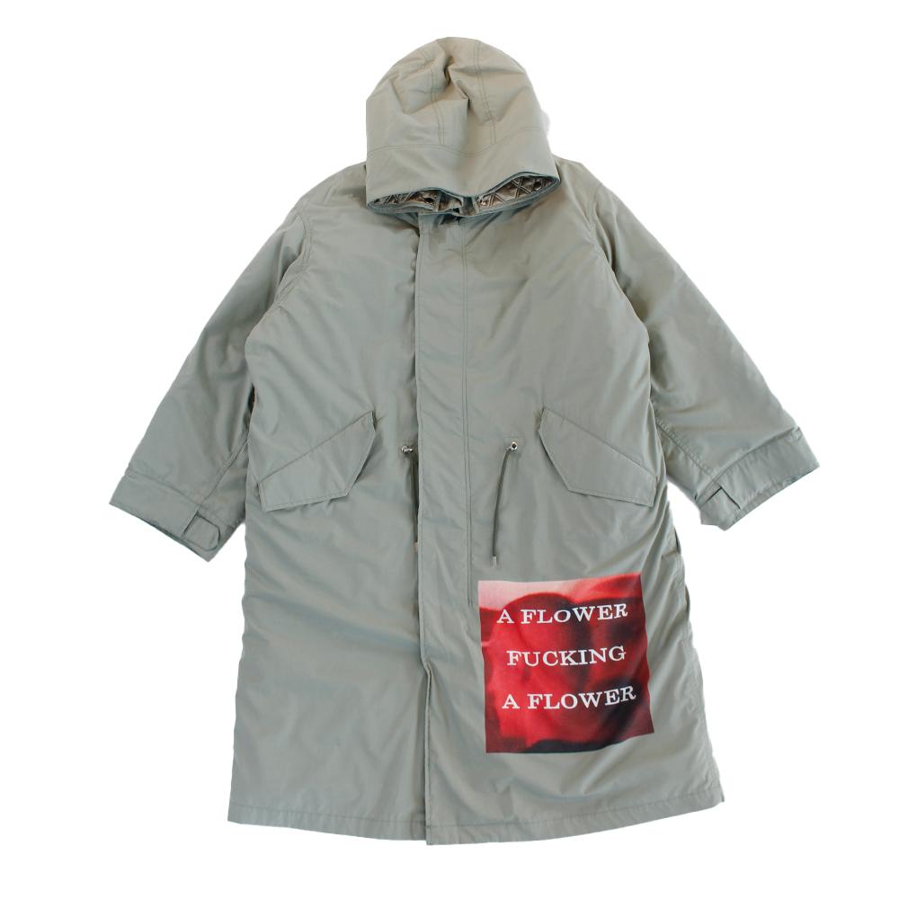ALMOSTBLACK Patch Work Hooded Coat Khaki