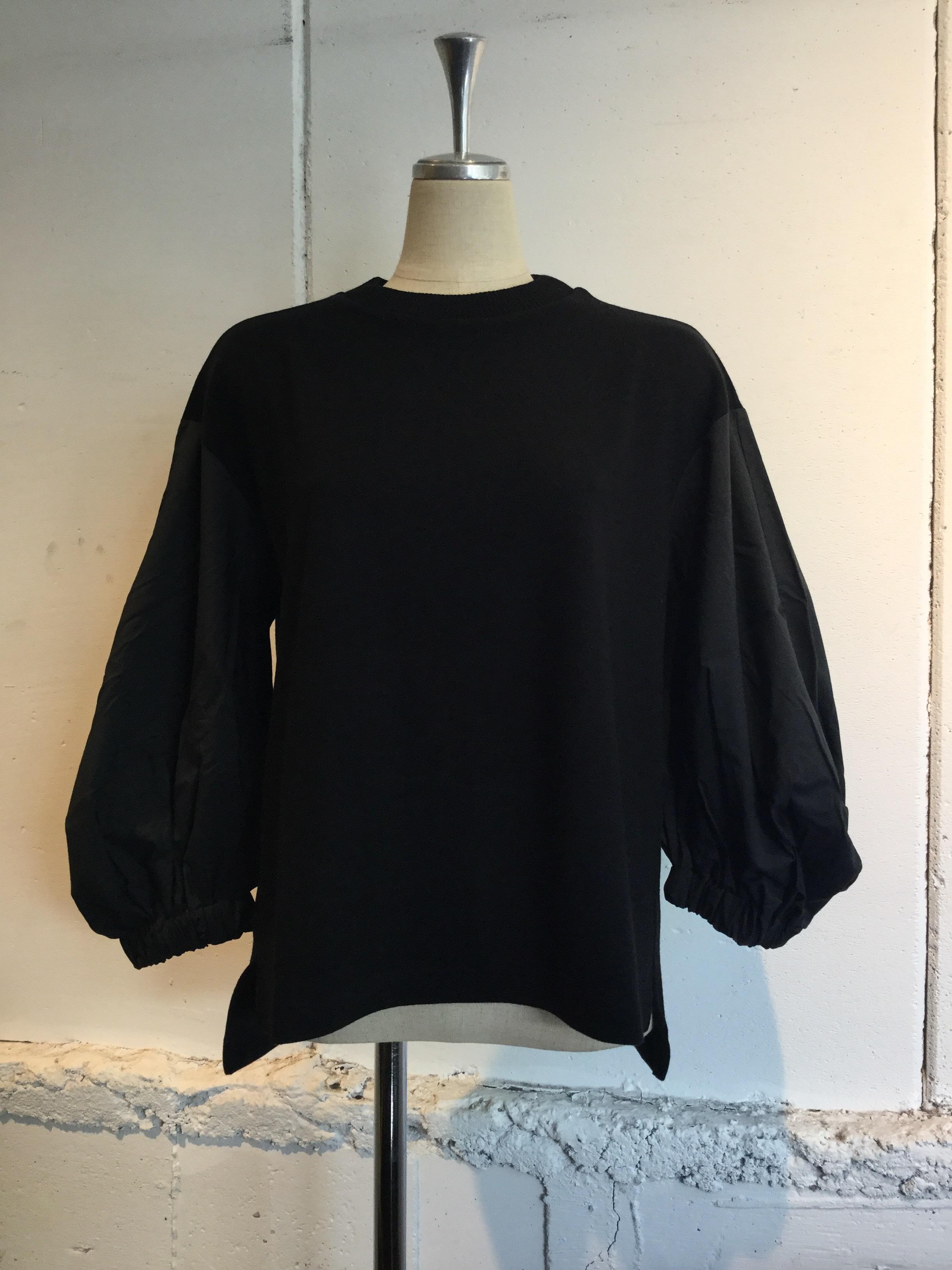 MUVEIL WORK 布帛袖プルオーバー (black)