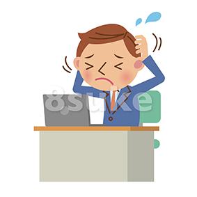 イラスト素材:ノートパソコンを使うビジネスマン/悩み・ストレスイメージ(ベクター・JPG)