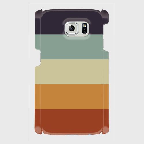 レトロストライプ(紺・水・薄緑・橙・赤) / Androidスマホケース(ハードケース)