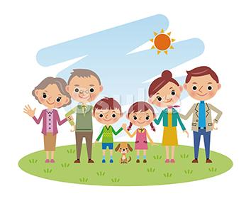 イラスト素材:青空の下で草原に立つ3世代家族(ベクター・JPG)
