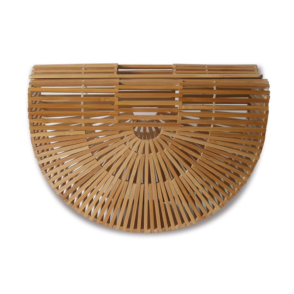 IUHA 扇形ハンドバッグ(大) 自然派 軽量 かごバッグ 竹かご 竹細工 お財布 小物収納   iuhawwc1710015