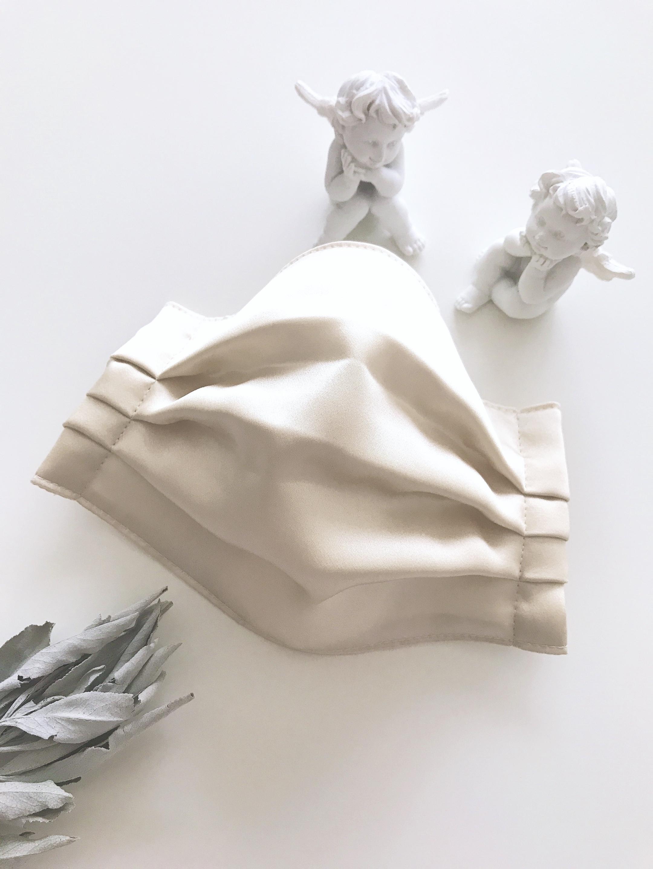 【布マスク】シルク&抗菌・抗ウィルスコットンガーゼ ベージュ/簡易ゴムタイプ