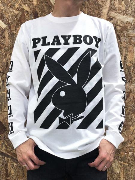PLAYBOY (プレイボーイ) ロゴプリント ロンT WHITE (ホワイト)