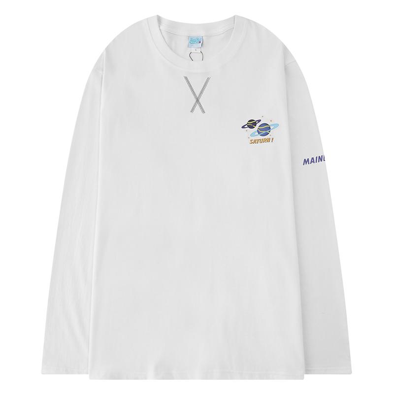 ユニセックス 長袖 Tシャツ メンズ レディース 惑星プリント オーバーサイズ 大きいサイズ ストリート