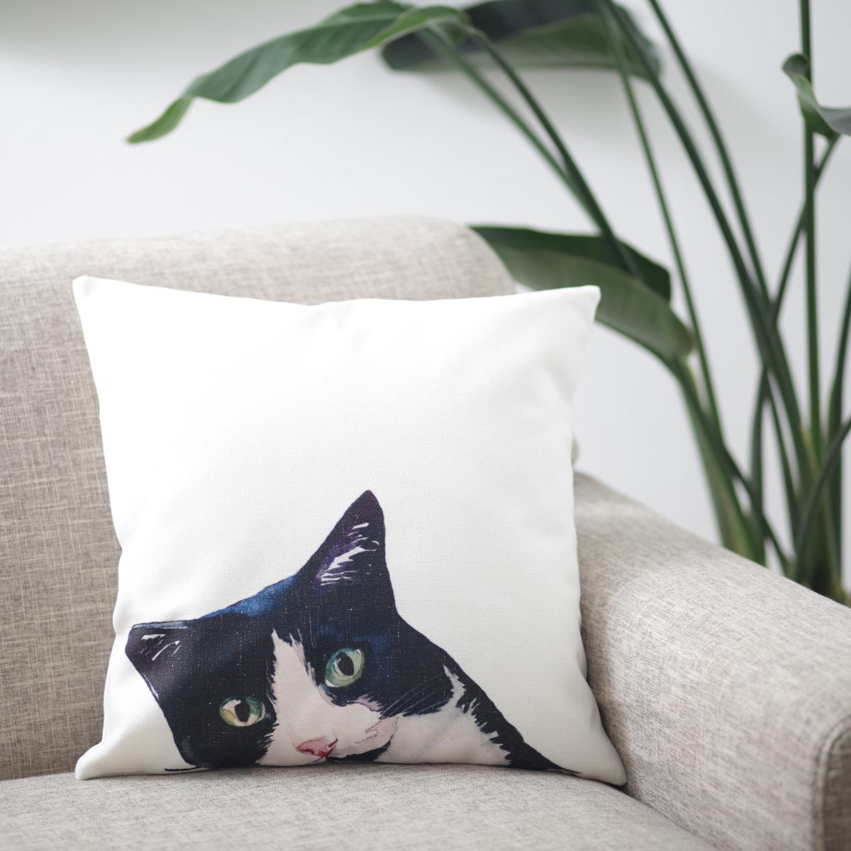 クッションカバー BLACK & WHITE CAT