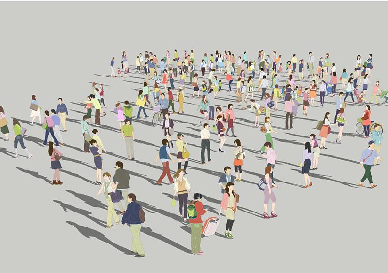 人物イラストSketchUp素材 4up_color01_100 - 画像1