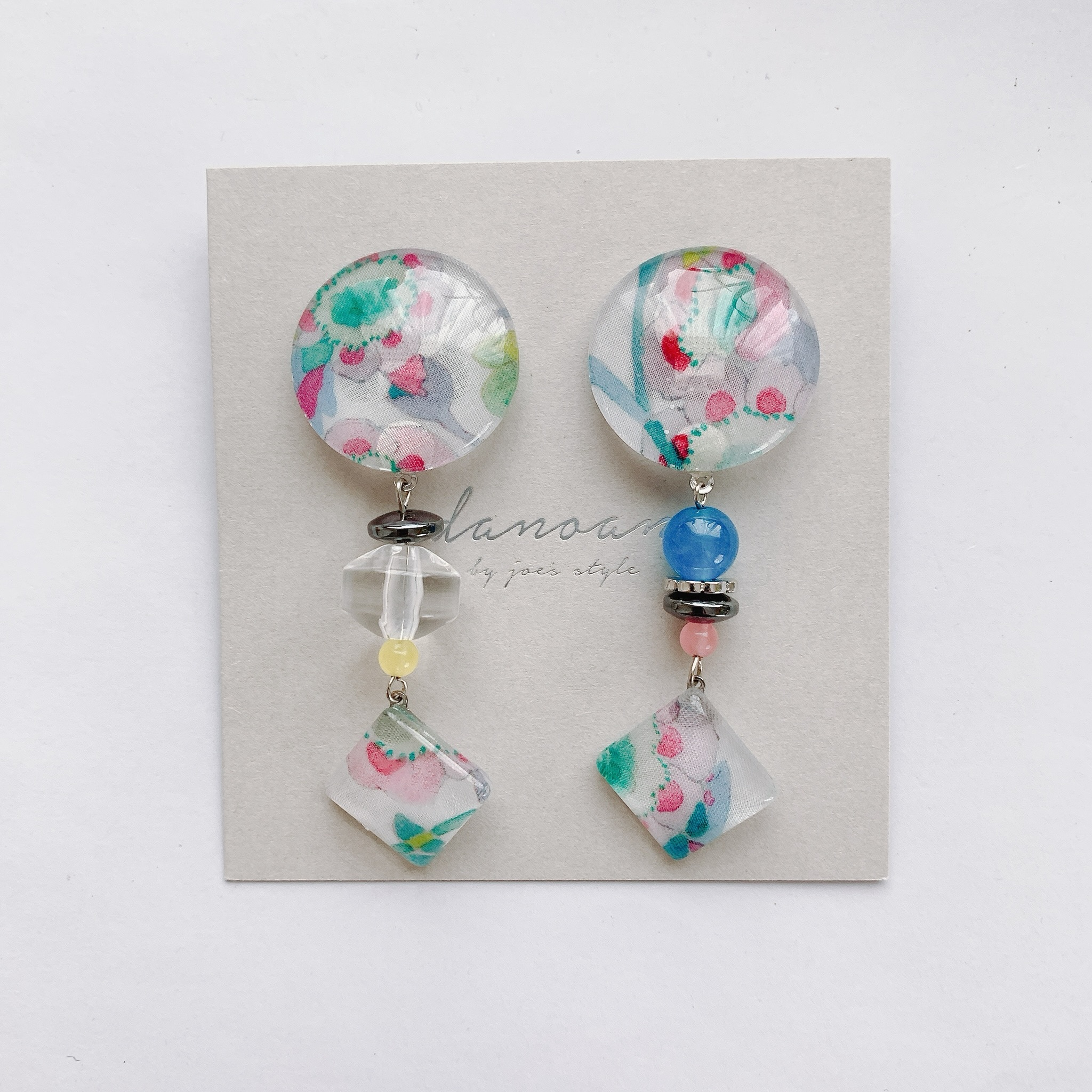 """ Earrings NO.danoan-6″リバティ×天然石"