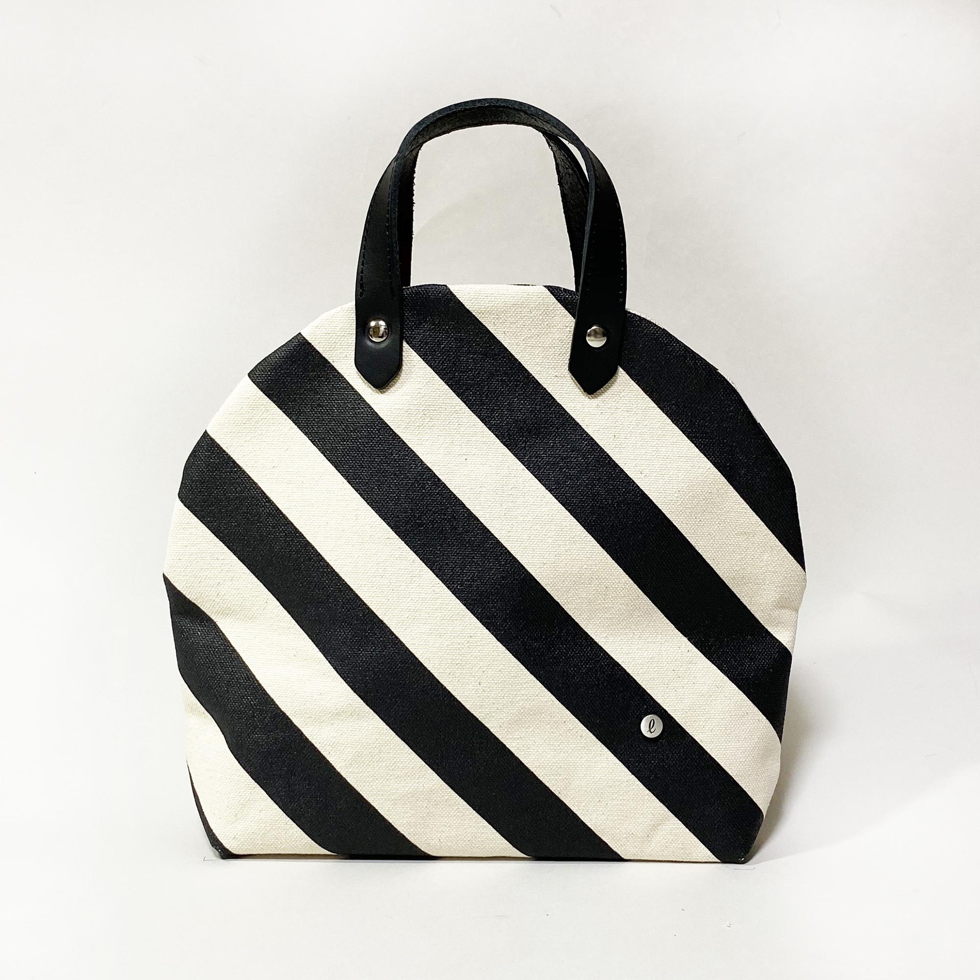 cupcake bag/black × stripe カップケーキバッグ/ 墨 x 縞