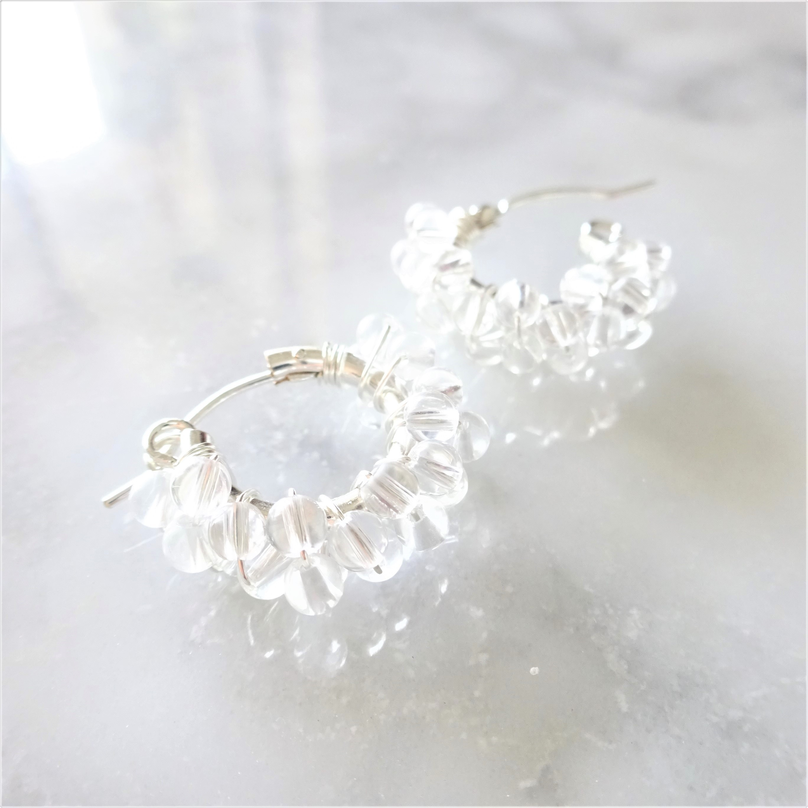 送料無料 SV925SF*Crystal Quartz wrapped pierced earring