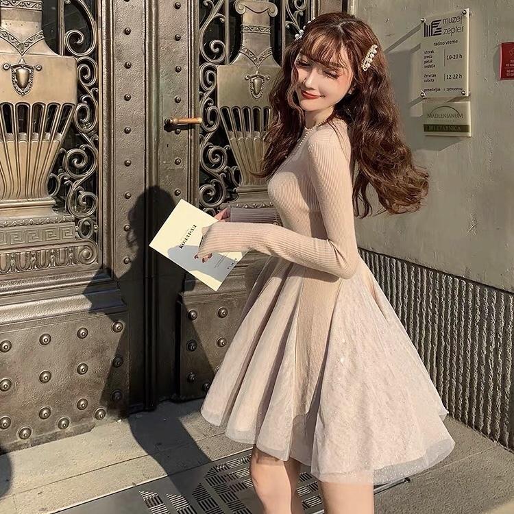 lace line frill dress