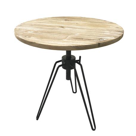 【直送】KOZAI高さ調整ができる丸テーブル ホワイト・古材 ・ブルックリンスタイル