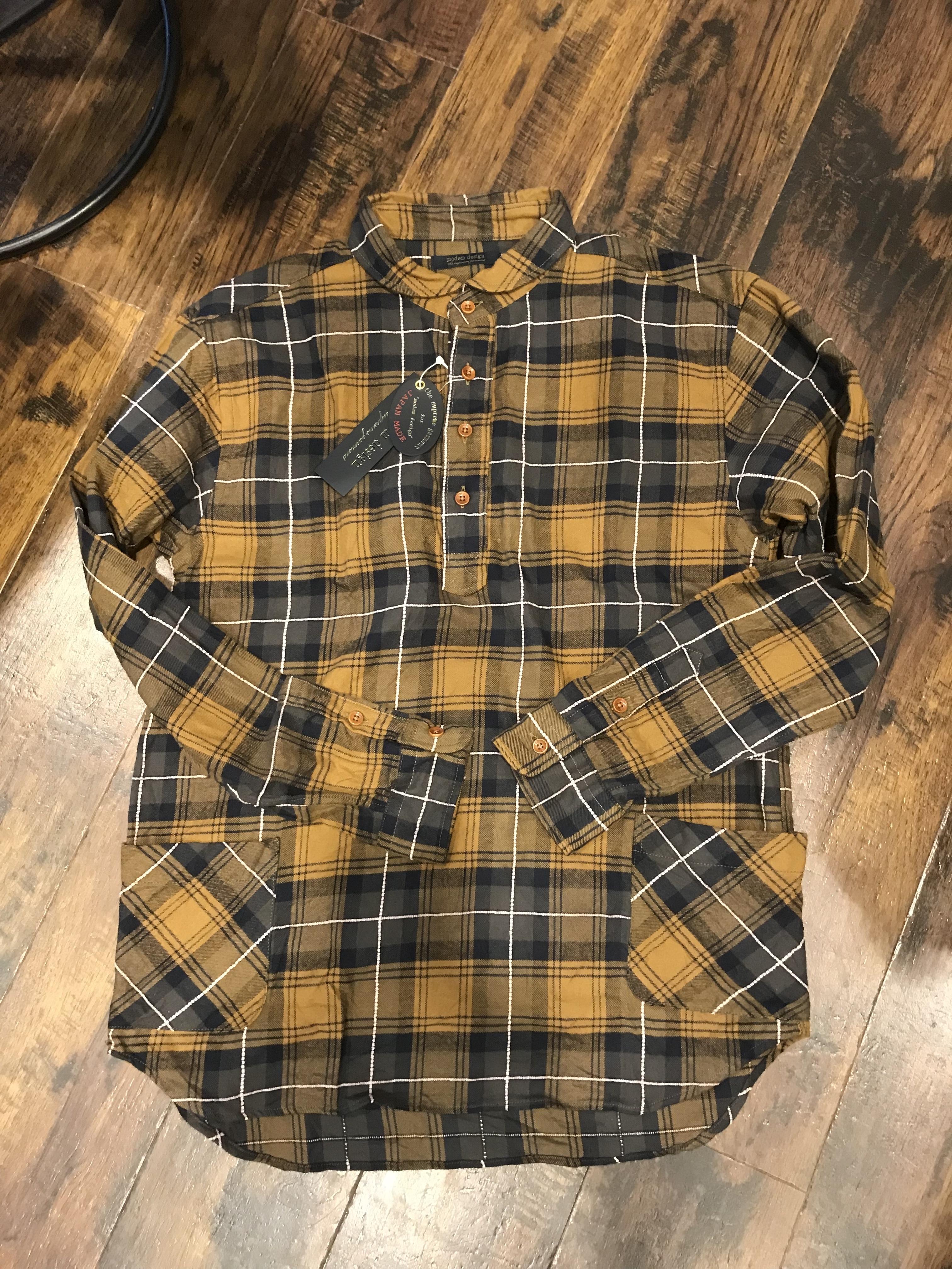 modem design ラウンドカラー プルオーバー チェックシャツ