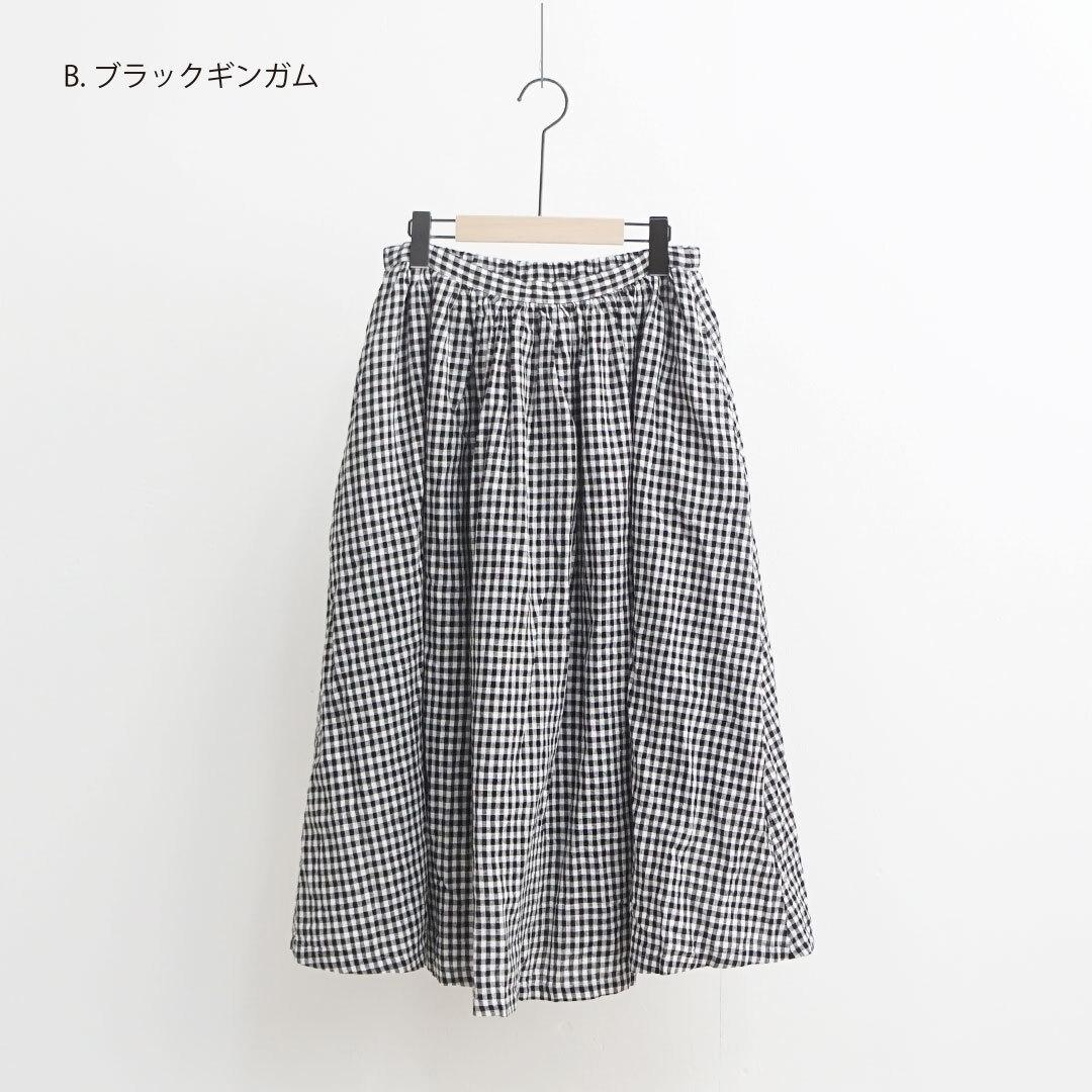 【再入荷なし】 ichi イチ コットンリネンギンガムスカート (品番191227)