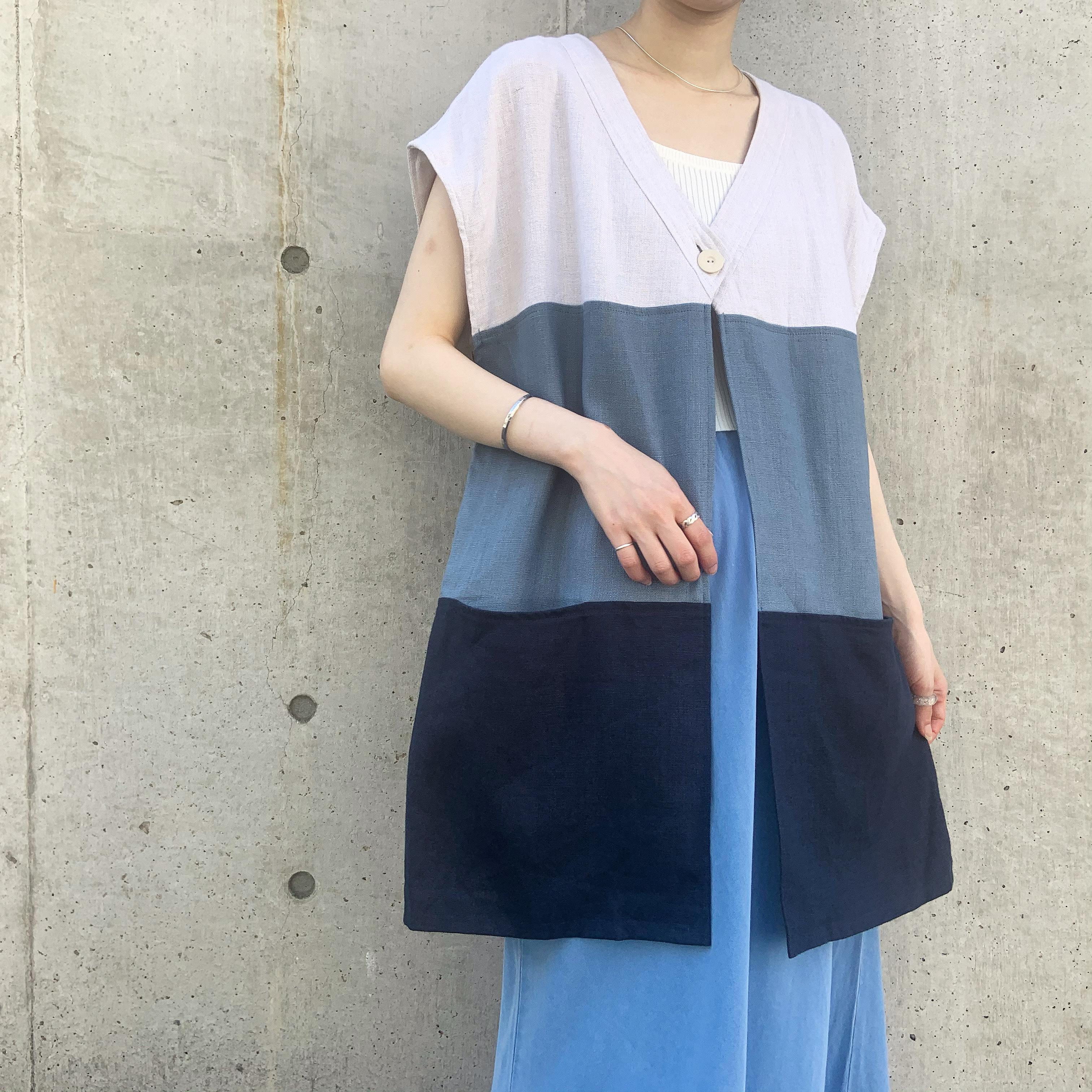 vintage tricolore linen vest