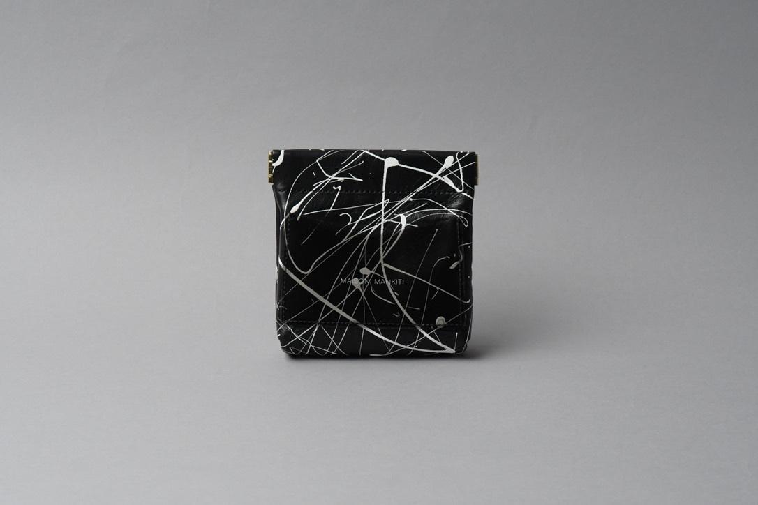 送料無料・ギフトラッピング(ギフト箱)無料○ ワンタッチ・コインケース ■drip type ブラック・ホワイト■ - 画像1