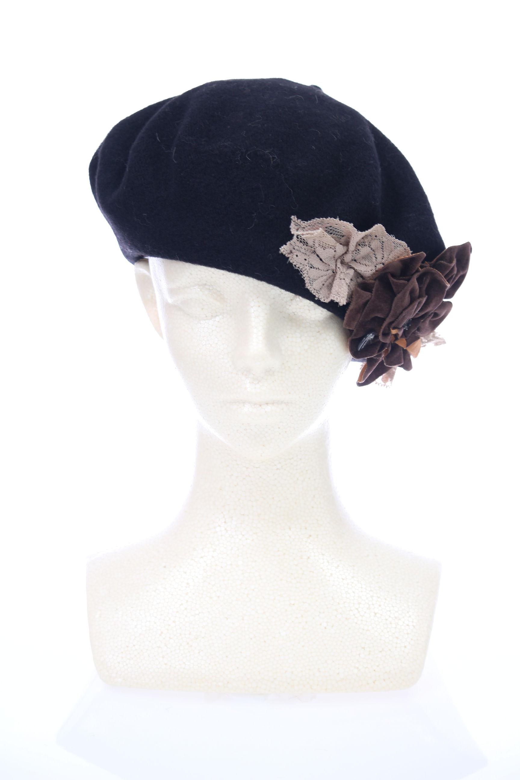 花付きイタリアベレー帽【黒】