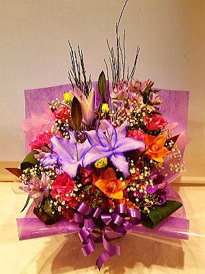 ar069 フラワーアレンジ 紫系