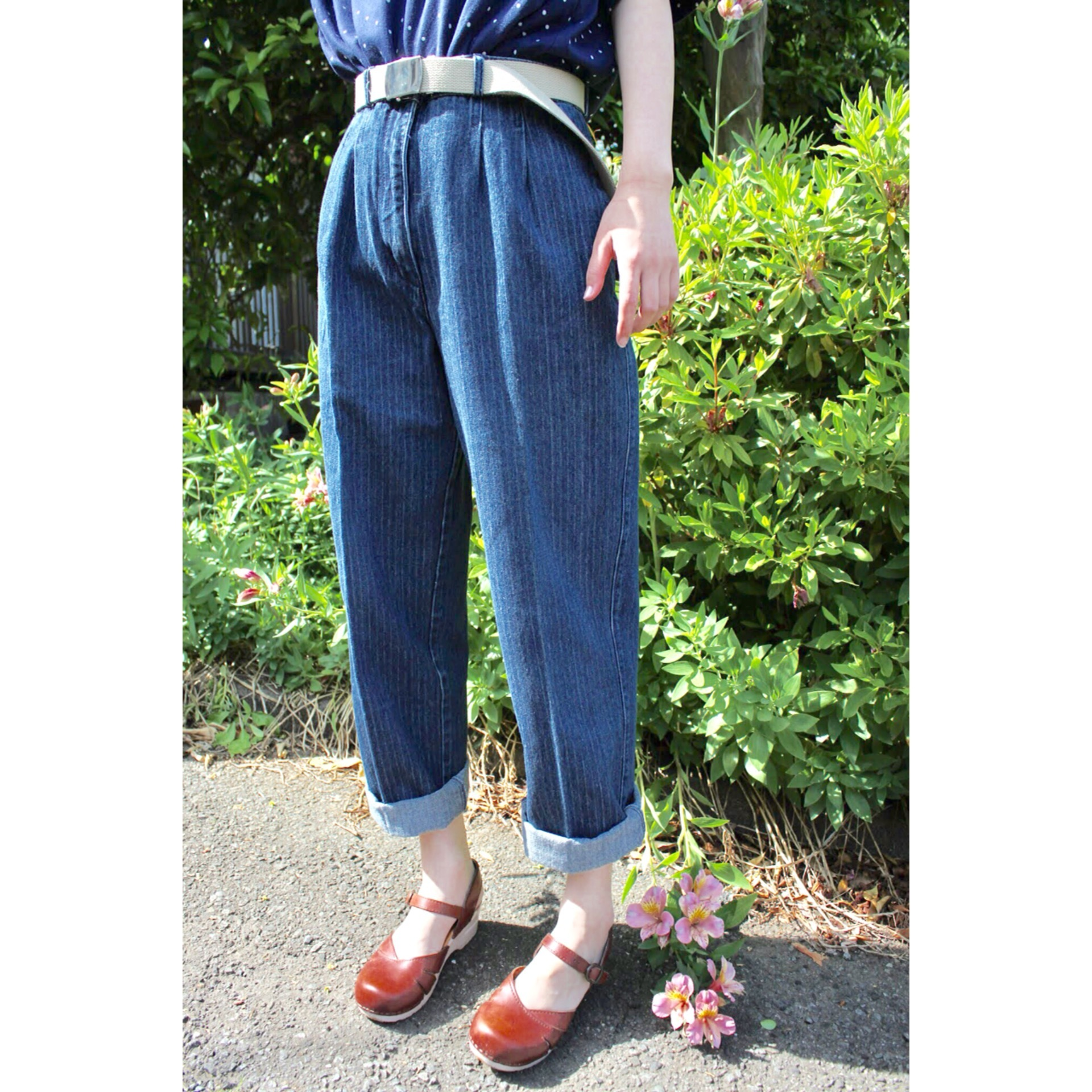 Vintage stripe denim pants