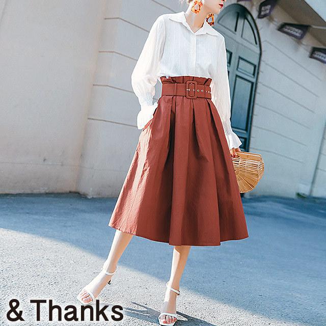 春コーデ タックギャザースカート 1カラー4サイズ