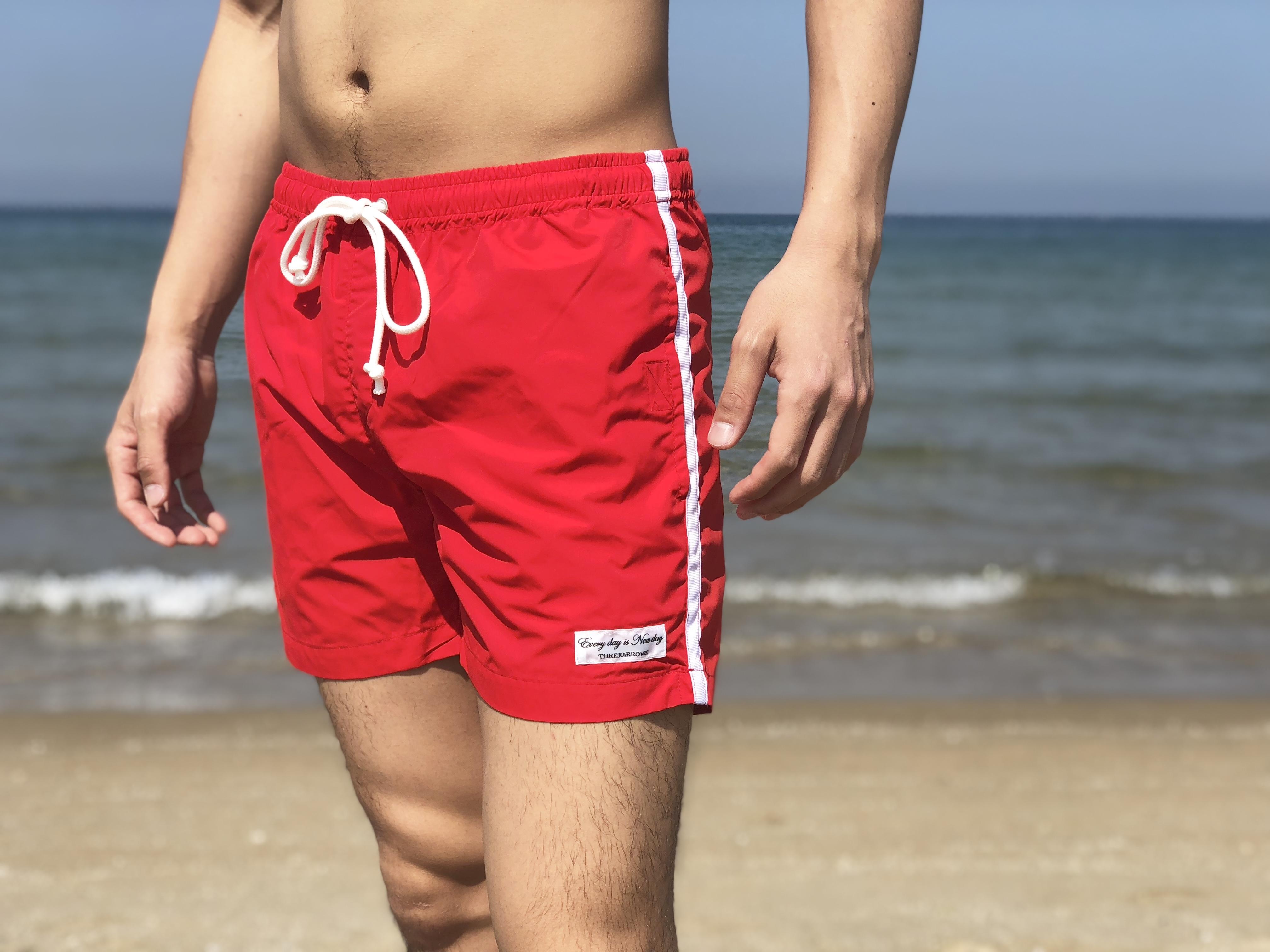 【5/15 21:00販売開始】ThreeArrows sideline Board Shorts(red × white)