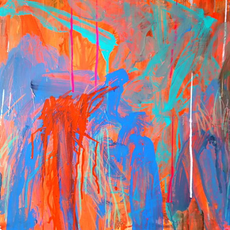 絵画 絵 ピクチャー 縁起画 モダン シェアハウス アートパネル アート art 14cm×14cm 一人暮らし 送料無料 インテリア 雑貨 壁掛け 置物 おしゃれ ロココロ 現代アート 抽象画 画家 : tamajapan 作品 : t-11