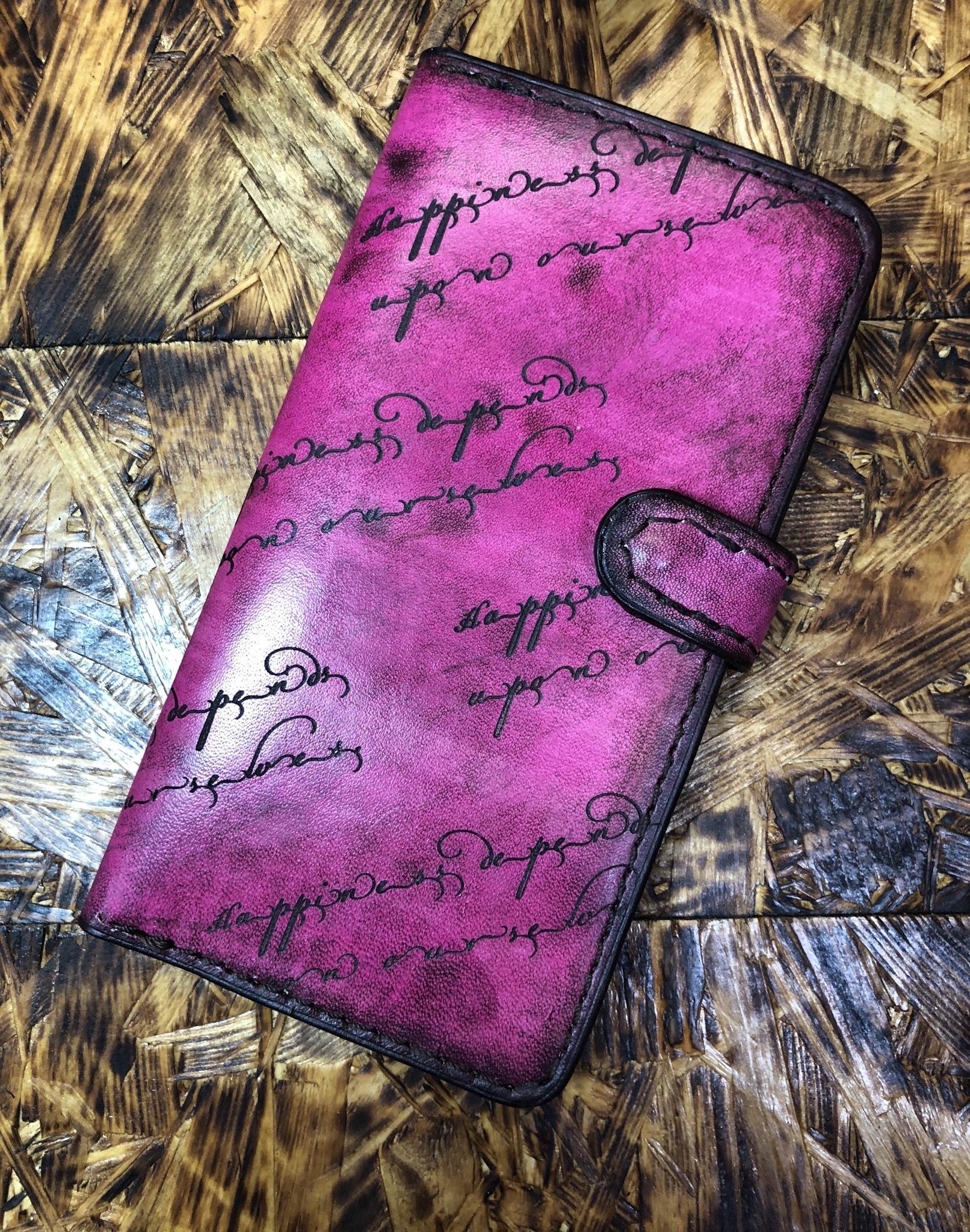 【現物販売】独特な色合いに手染めした手帳型iPhone 6sプラスケース(アンティークピンク)