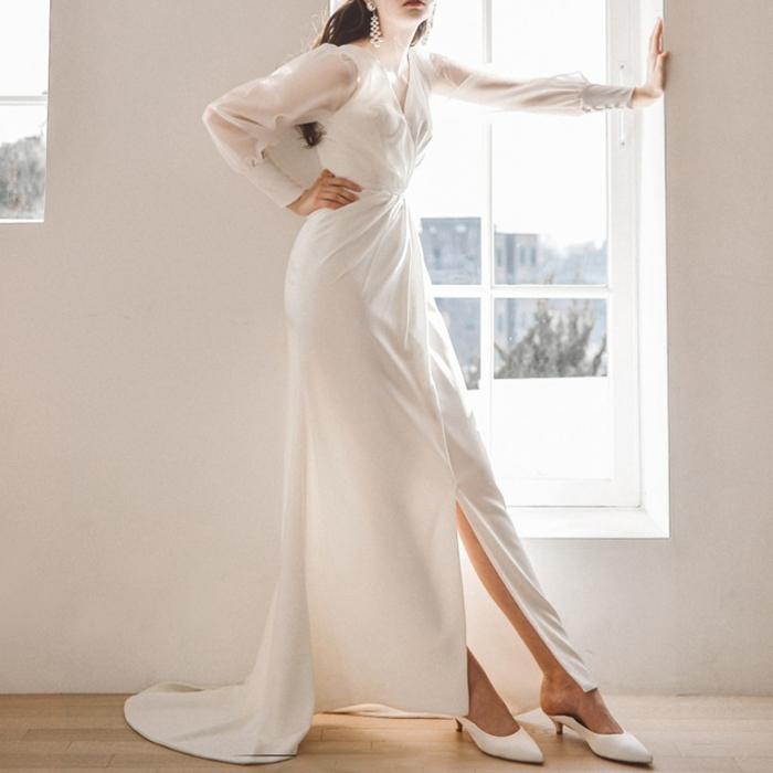 ウエディングドレス ホワイト シースルー袖 ドレーン スリット