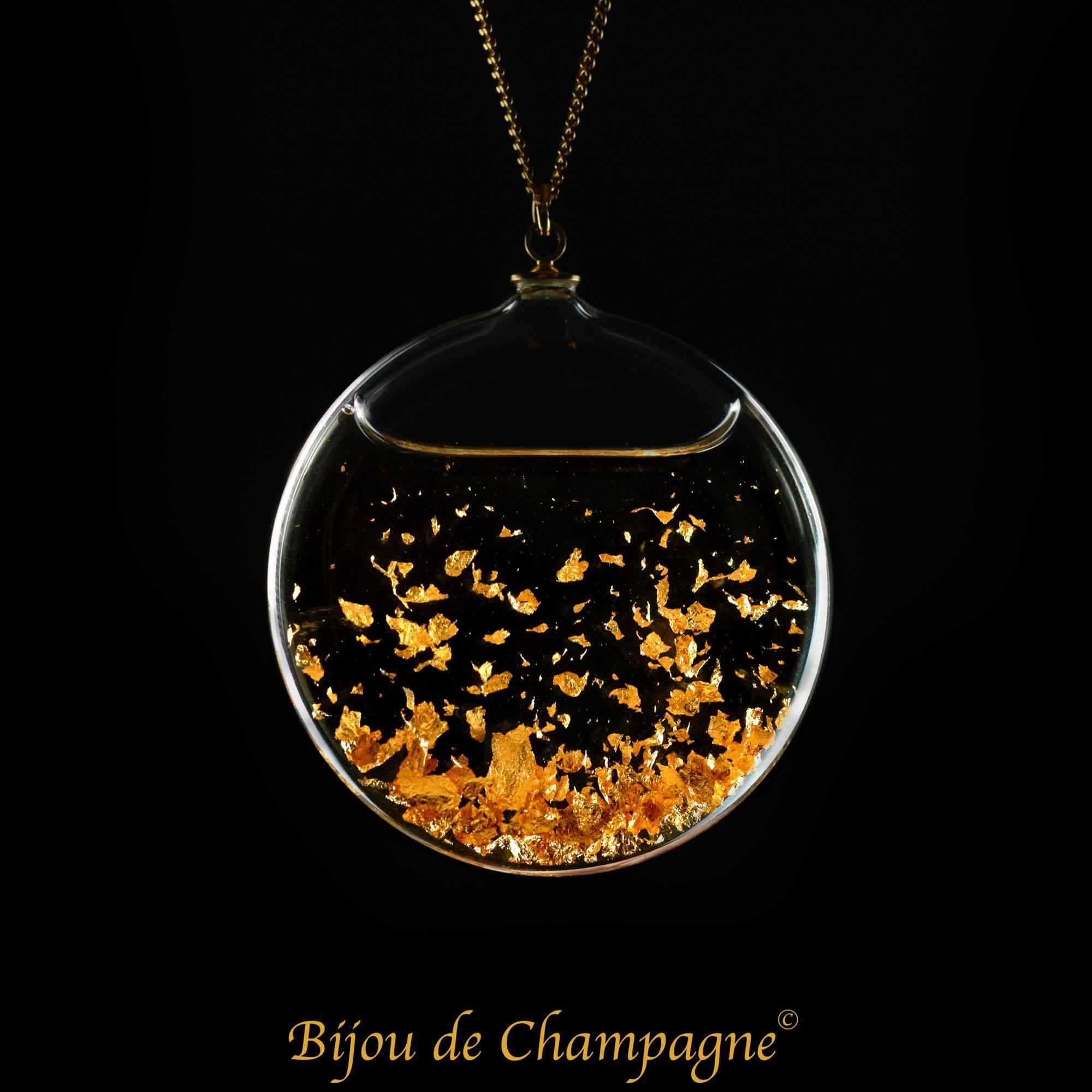 ビジュ・ドゥ・シャンパーニュ|「ビュル・ドゥ・シャンパーニュ」ガラスジュエリー(シャンパーニュの気泡)ペンダント|フランス製|アクセサリー