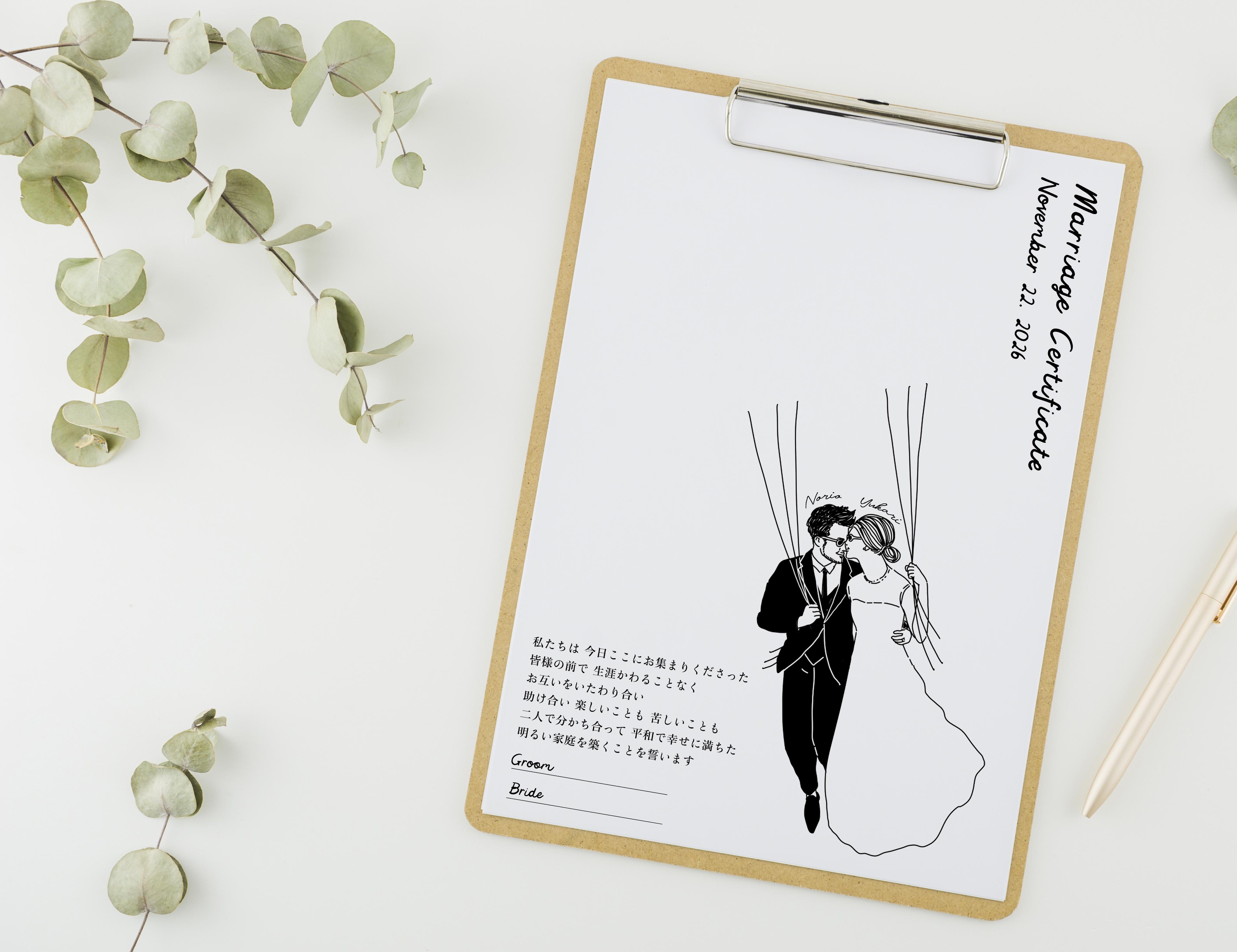 おふたりの似顔絵で作る ゲスト参加型結婚証明書③ │ウェディングツリー ウェディングバルーン