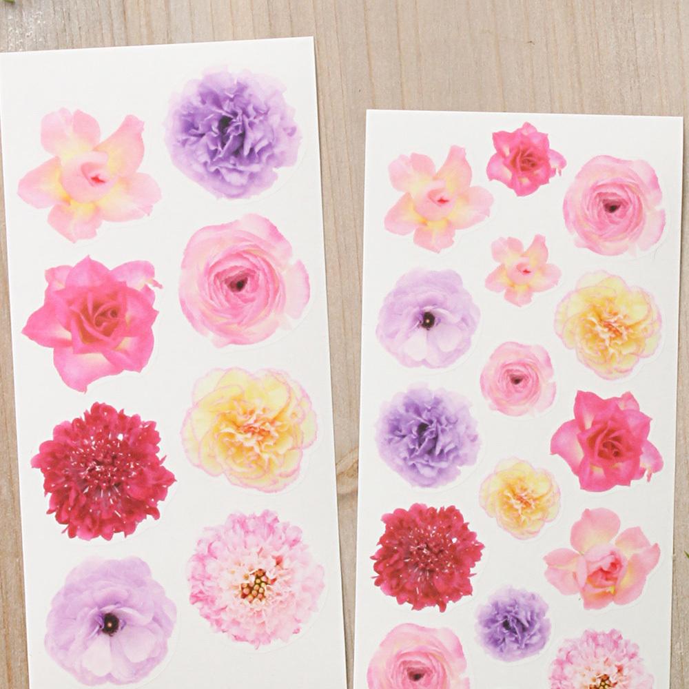 G042 透ける花シール バラ カーネーション フラワー 2枚組