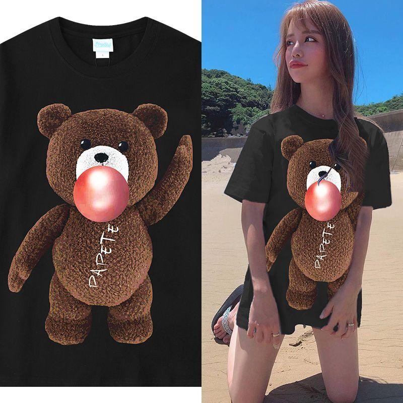 ユニセックス 半袖 Tシャツ メンズ レディース かわいい チューインガムを膨らませてるクマちゃん ベアー プリント オーバーサイズ 大きいサイズ ルーズ ストリート