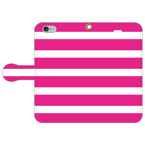 【全70機種に対応】ピンク・ボーダー スマホカバー 手帳型
