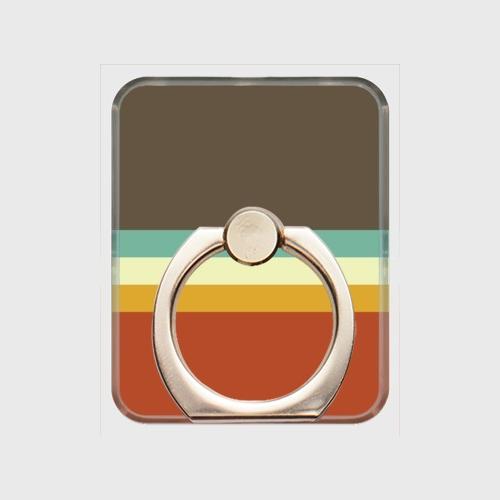 レトロストライプ(暗灰・水・薄緑・橙) / スマホリング
