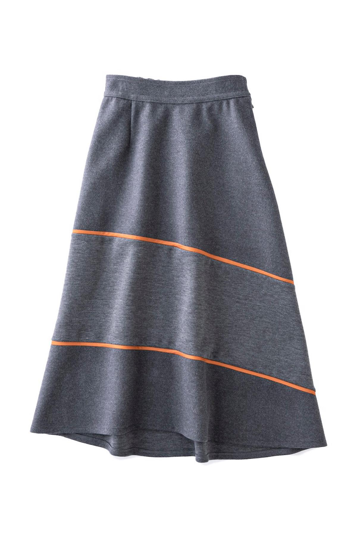 異素材ミックススカート <グレー>