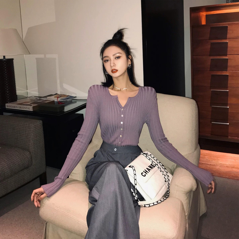 purple tight cardigan