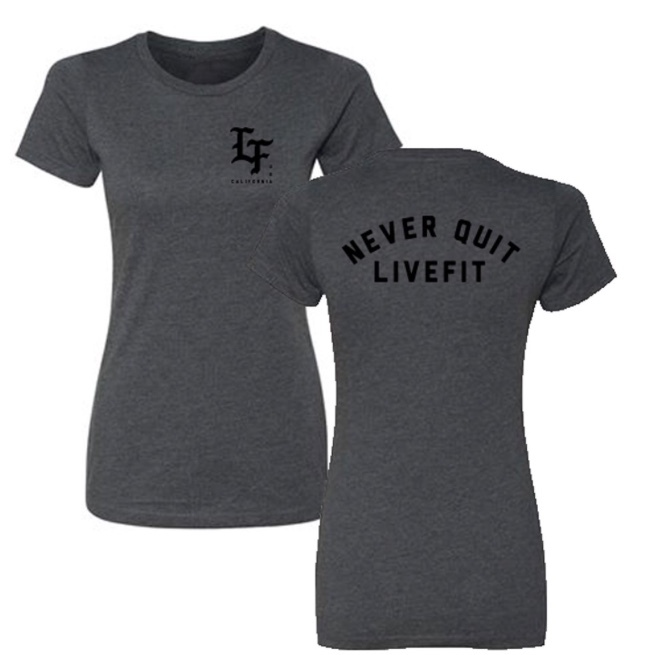 LIVE FIT Never Quit Womens- Charcoal/Black
