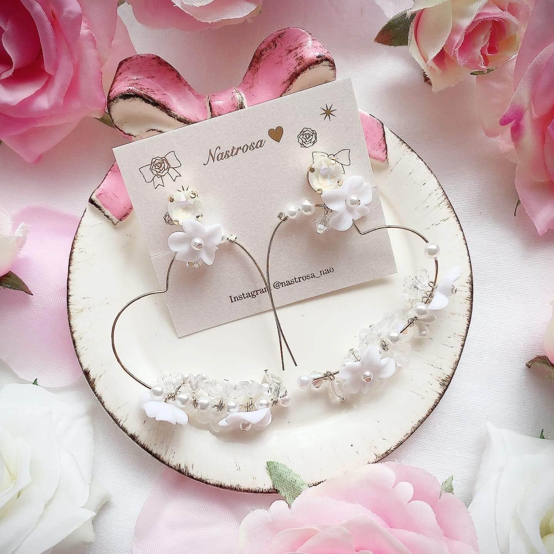 blooming heart wreathe♡white